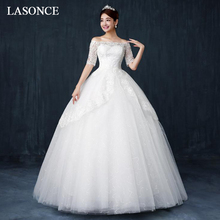 LASONCE Boat Neck Sequined Ball Gown Wedding Dresses Illusion Lace Appliques Half Sleeve Tiered Tulle Bridal Gowns