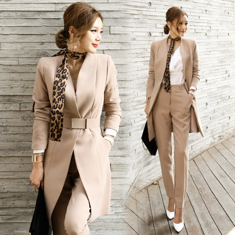 Pant Suits Women Blazer Set Casual Autumn Lady Business Office Work Korean Uniform V-Neck Long Jacket Elegant Pants Suits