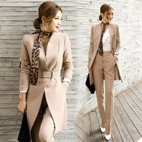 Pant Suits Women Blazer Set Casual Autumn Lady Business Office Work Korean Uniform V Neck Long Jacket Elegant Pants Suits