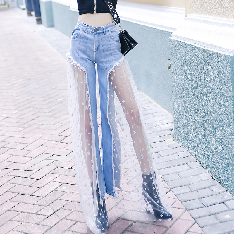 Hirigin Hot Elegant Jean 2019 New Style Women Spring High Waist Button Mesh Lace Flared Demin Jeans Long Wide Leg Pant Trousers