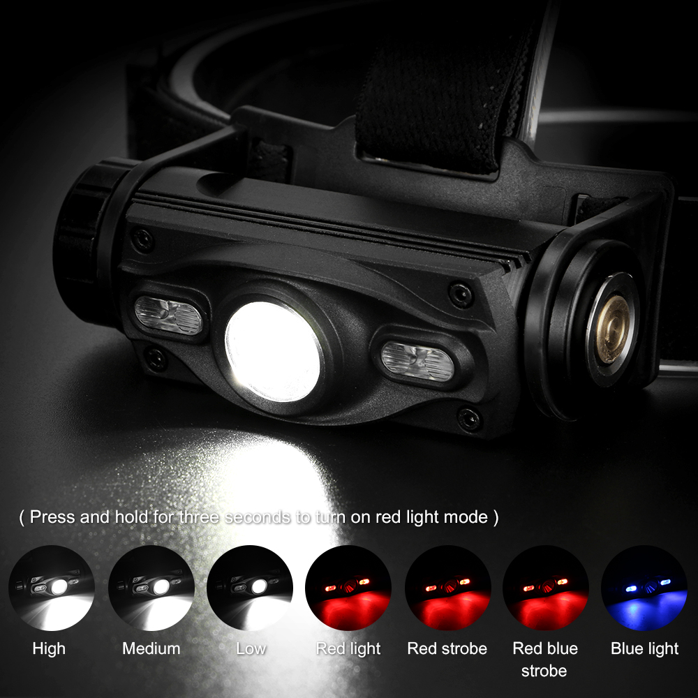 Image 5 - 3 LEDs Headlamp XML L2 Blue Red Headlight USB Charging Head Lamp Waterproof 18650 Torch Flashlight Portable Lantern For FishingHeadlamps   -