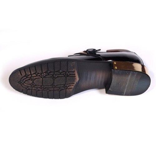 Moda Traje Negro Genuino Cuero Formal Hebilla Alta Zapatos De Vestido Derby Caliente Zapato Calidad qRTH6S