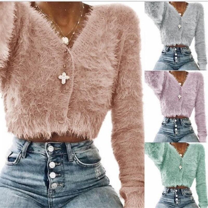 Loneyshow Women   Basic     Jackets   Autumn Ladies Button Outwear   Jackets   Plush Solid Plush Short Coat Slim Fit Knitting V-neck   Jacket
