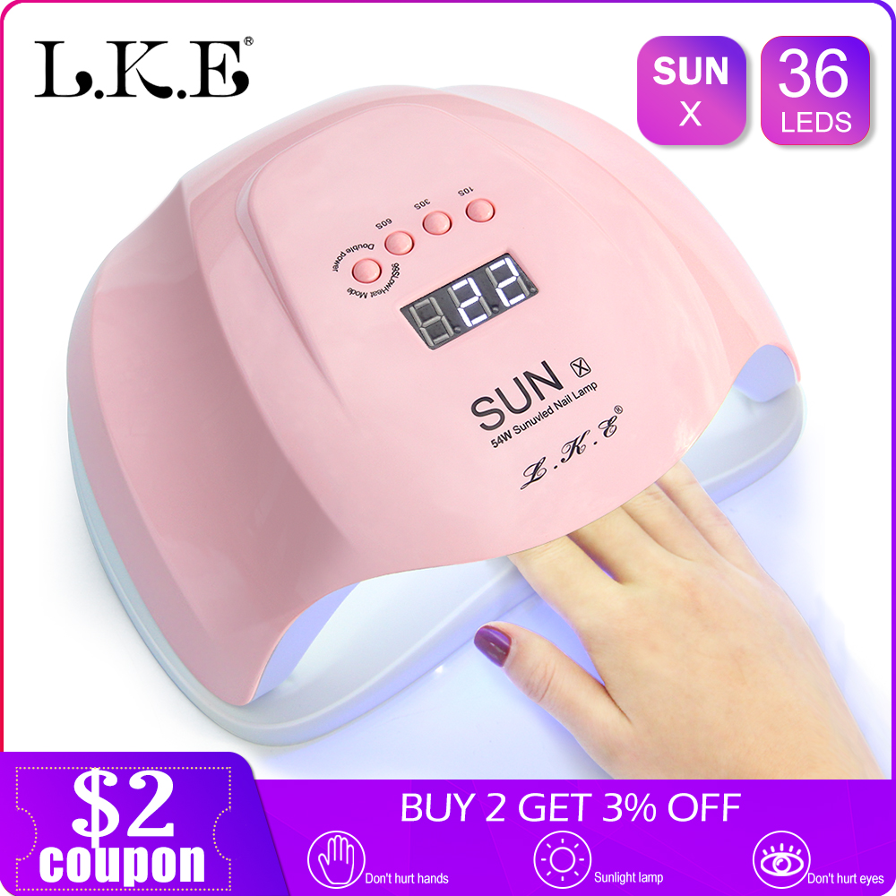 LKE SUNX UV Lamp 54W/48W Nail Dryer Gel Led Lamp For  Nail Drying Manicure Smart LCD Display For All Gel Nail Polish UV Lamp    LKE SUNX UV Lamp 54W/48W Nail Dryer Gel Led Lamp For  Nail Drying Manicure Smart LCD Display For All Gel Nail Polish UV Lamp