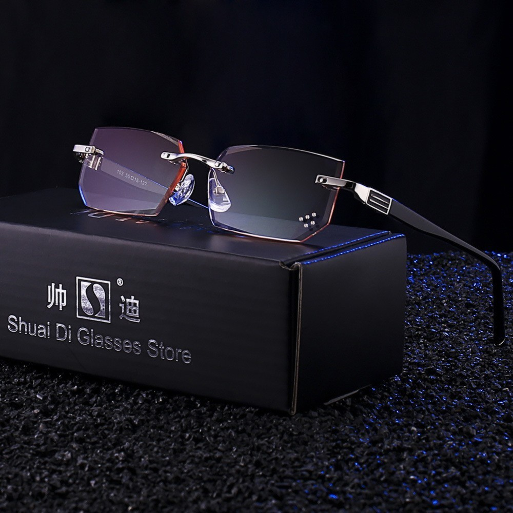 Luxury Reading Glasses Men Women Diamond Cut Resin Clear HD Lens Anti Blue Light Glasses for sight Rimless Diopter Eyeglasses
