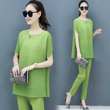 Fold Suits 2019 Spring Summer New Elastic Loose Top WomenS Wear Big Yards Korean Fashion Leisure Two-Piece Outfit Green