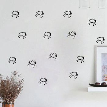 15pcs/set Cartoon Little Sheep DIY Vinyl Wall Sticker Removable Self adhesive Kids Room Nursery Art Decals Home Decor