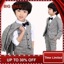 Child vest Suits British Style Kids Costumes ( Blazers pant bowtie ) 4-pieces Children Clothing