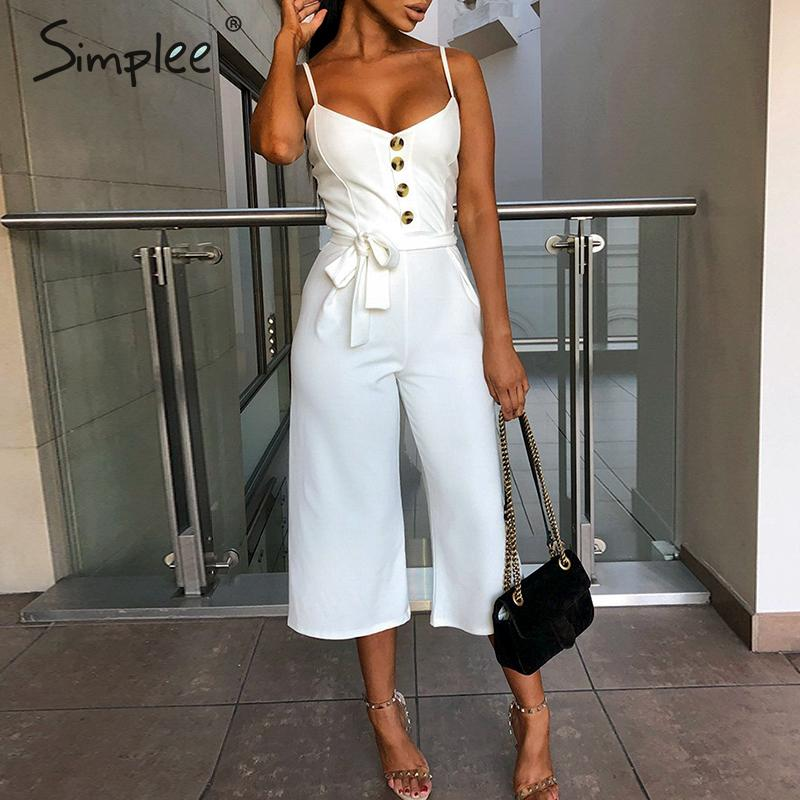Simplee Spaghetti strap women jumpsuit Elegant sashes female Seven-quarter jumpsuit   romper   Wide leg casual streetwear overalls