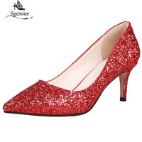 Sgesvier 2019 Women Fetish High Heels Female Bridal Elegant Stiletto Heels Red Silver Glittering Pumps Lady Wedding Prom Shoes
