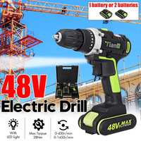 Drillpro Electric Screwdriver Cordless Drill 48V Max Mini Wireless Power Driver DC Lithium Ion Battery 2 Speed