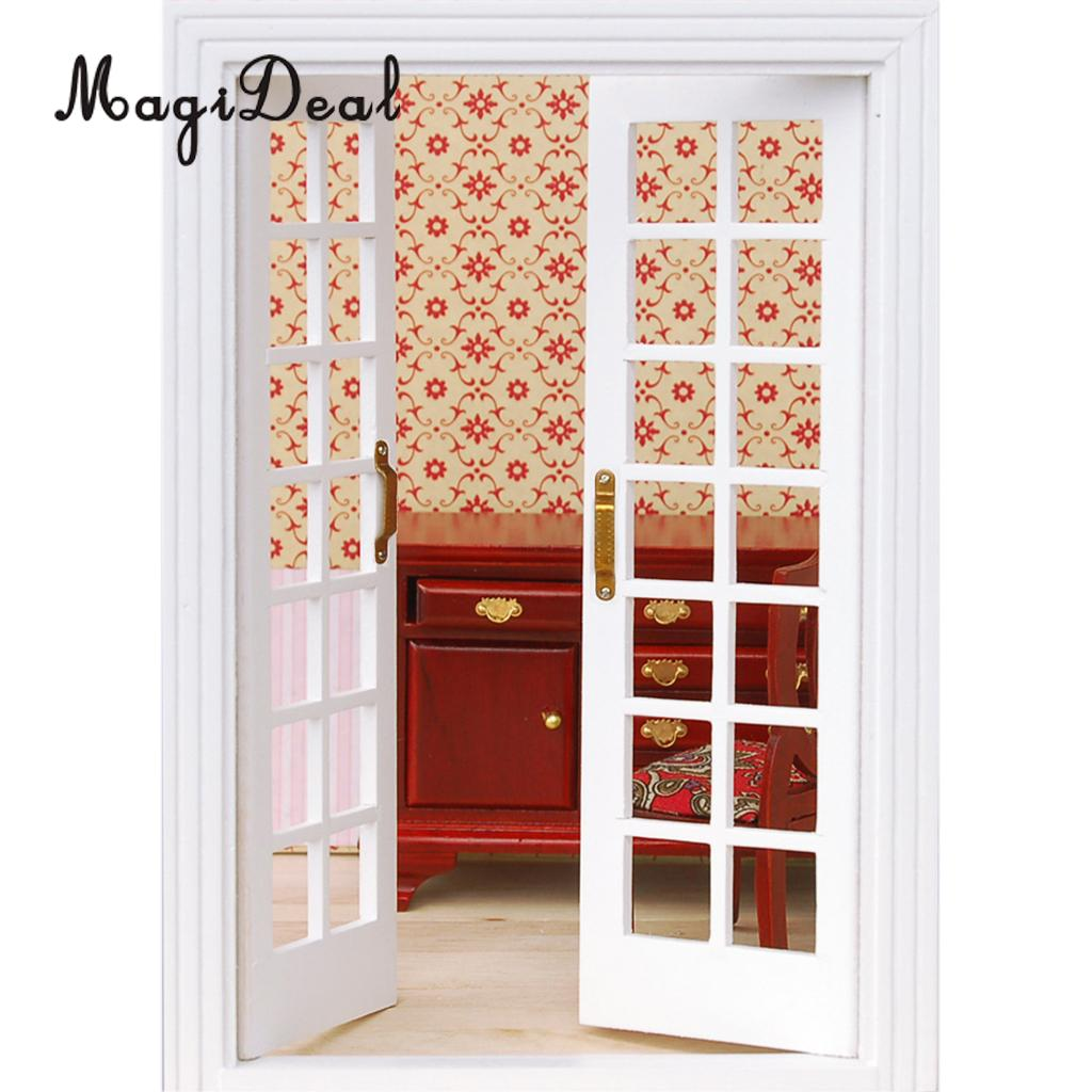 MagiDeal 1Set 1/12 Dollhouse Miniature Exterior Wooden French Door For Dolls House Bedroom Living Room Furniture Toy White