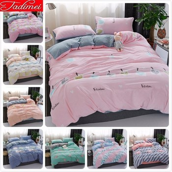 Pink Gray AB Double Side Quilt Duvet Cover Bedding Set Adult Kids Child 100% Washed Cotton Bed Linen Single Full Queen King Size