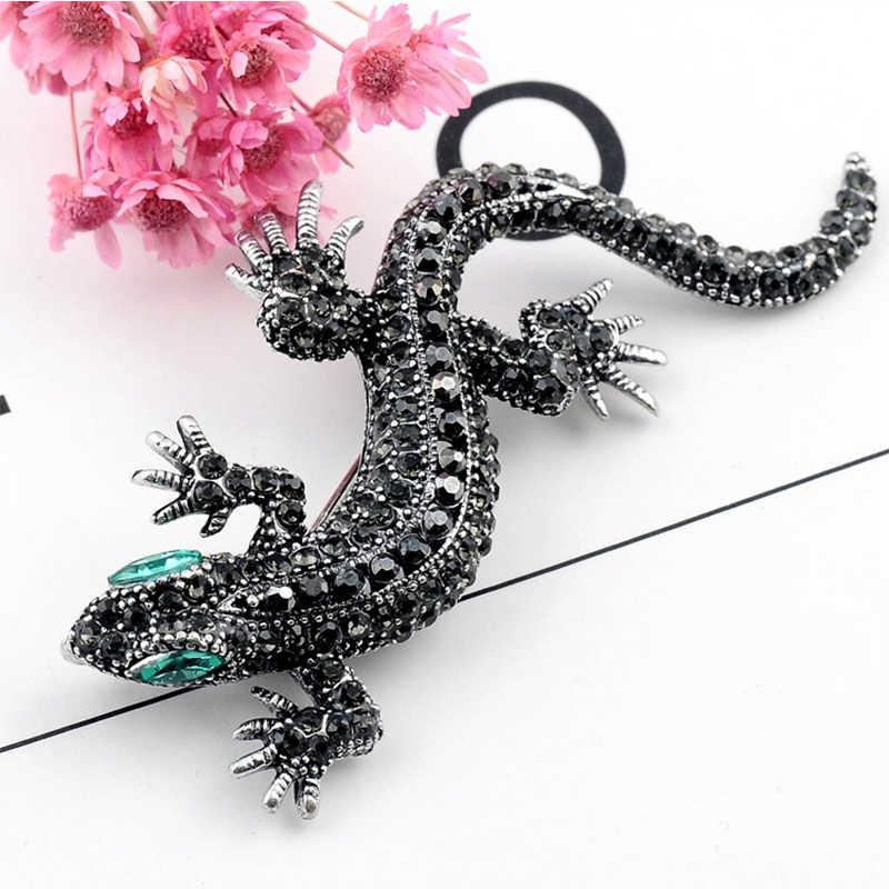 Pin Lizard Crystal Fashion Perhiasan Enamel Hewan Valentine Hadiah Shirt Sweater 1 PC Rok Setelan Bisnis Berlian Imitasi Bros