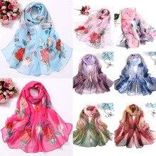 Fashion 2019 New High Quality Women Scarves Chiffon Silk Shawl Popular Turban Floral Printed Beach Towel Summer