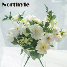 Dream House DH 3 pcs / lot artificial tea rose flowers decor fake flores wedding decoration real touch silk flower