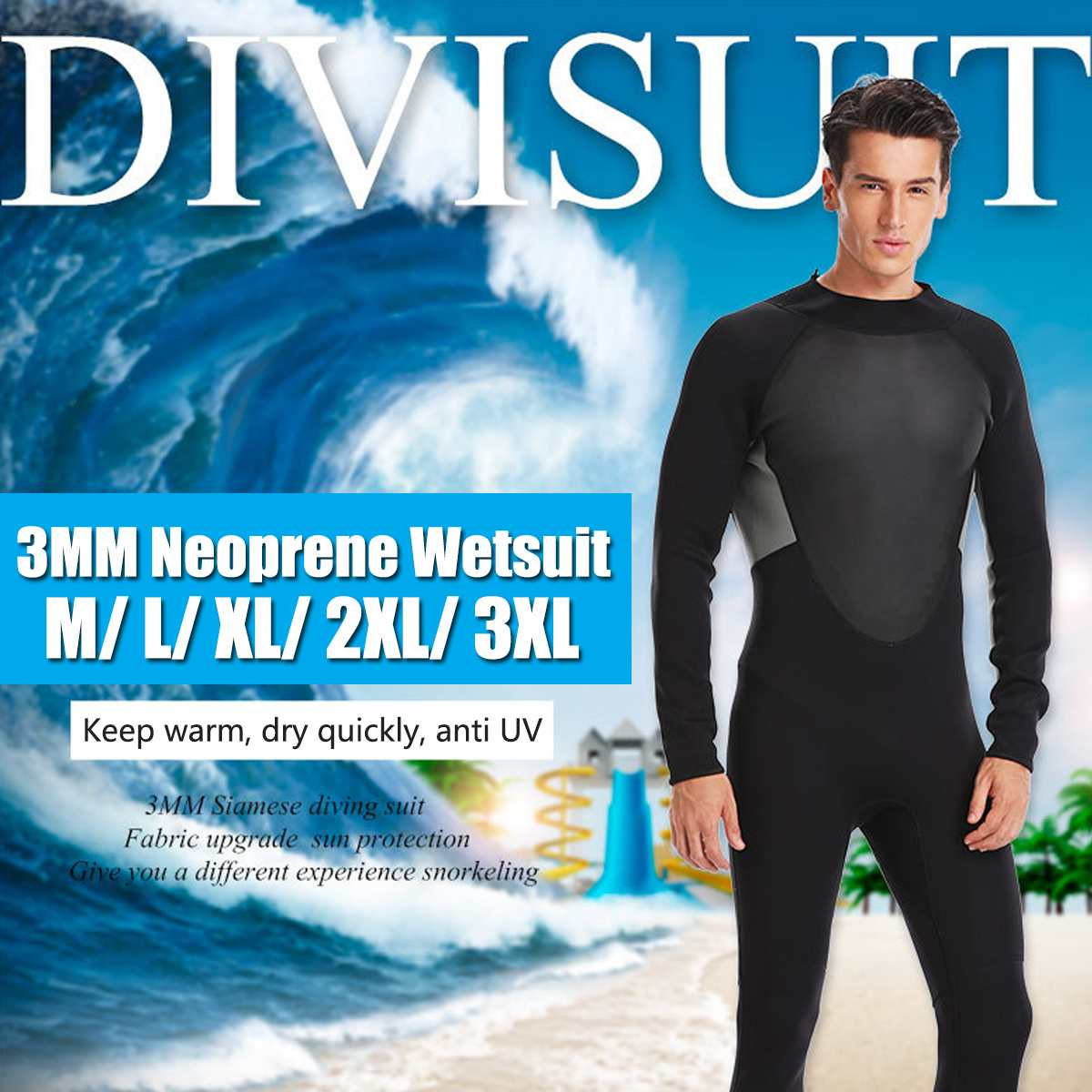 f3c1cc0572 Detail Feedback Questions about M L XL 2XL 3XL 3MM MEN One Piece Neoprene  WetSuit Full Body suit Super stretch Diving Suit Swim Surf Snorkeling Diving  ...
