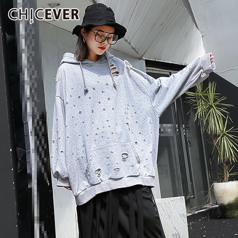 CHICEVER Autumn Hole Sweatshirt For Women Casual Loose Hooded Long Sleeve Tops Female Pullovers Women's Hoodies Fashion New 2020