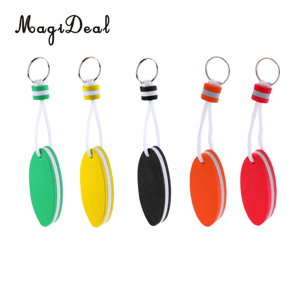 MagiDeal 5 Pieces Oval Shaped EVA Foam Floating Key Ring Boat Keychain For Marine Fishing Rafting Canoeing Sailing Accessories