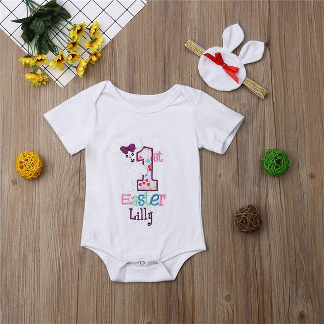 7dfc098bac2c placeholder 2019 New Brand Newborn Infant Baby Girls Clothes Easter Jumpsuit  Cute Soft Bodysuit + Headband Outfits