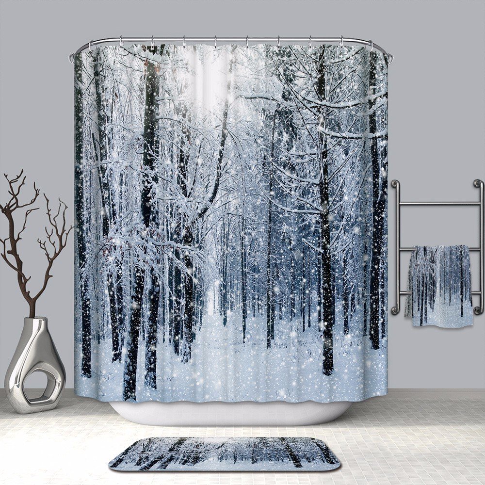 Image 2 - VOZRO Shower Curtain Quality Natural Waterproof Polyester Bathroom 2 M Cloth 3D Fcollege Dormr Simple Bape Douchegordijn Pascoa-in Shower Curtains from Home & Garden