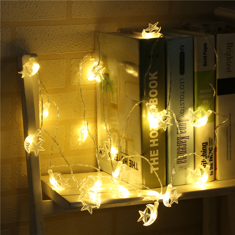 Fairy LightsStar Moon String Light 1.5M-10M,10L/20L/40L/96L,3AA/31V US/EU Room Weding Party Wall Window Home Decoration Children Night Lamp