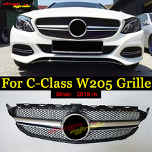 W205 grille AMG style ABS Silver Without Emblem Sport For Benz C180 C200 C250 C300 C350 C400 Front Mesh grill Grille 2015-in цены