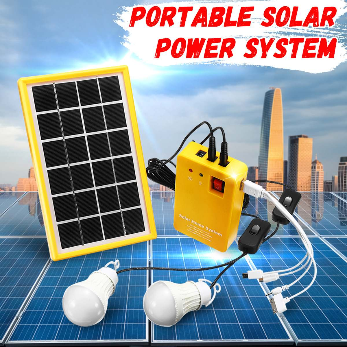 5V Solar Power Panel Generator Kit USB Charger Home System with 3 LED Bulbs Light Indoor/Outdoor Lighting Over Discharge Protect5V Solar Power Panel Generator Kit USB Charger Home System with 3 LED Bulbs Light Indoor/Outdoor Lighting Over Discharge Protect