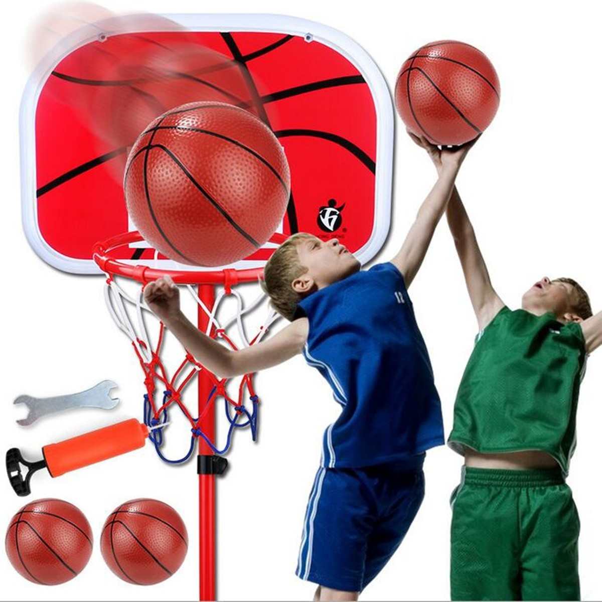 Basketball Hoop+Basketball+Pump 1.5m Height Adjustable Kids Mimi Basketball Hoop Rim Net Set Backboard Basket Ball 72-150cm