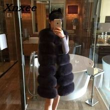 Women fur coat fox faur fur vest jacket coat winter female fur jacket outerwear waistcoat natural long fox fur slim vest coats цена