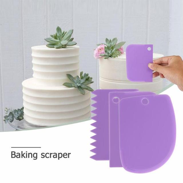 3 pçs/set Borda Simples Faca Massa Fondant Raspador Plástico Jagged Suave Bolo Pá Bolo Espátulas Panificação Pastelaria Tools