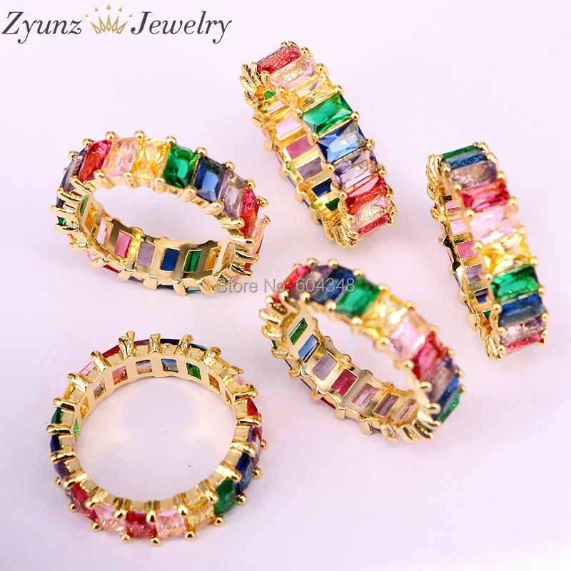 5PCS Gold filled fashion jewelry rainbow square baguette cz engagement ring for women colorful cubic zirconia cz RING