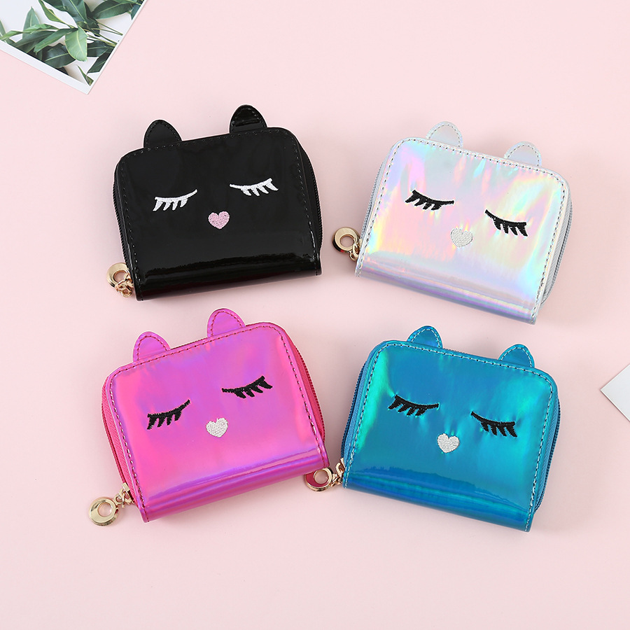 Fashion Pu Leather Laser Hologram Wallets For Women Girls Coin Purses Cartoon Cat Face Mini Holders
