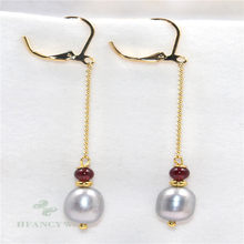 10-11mm Grey Baroque Pearl Earrings Gold Long Ear Drop Hook Real Jewelry Natural Party Women Irregular Earbob Gift AAA Classic(China)