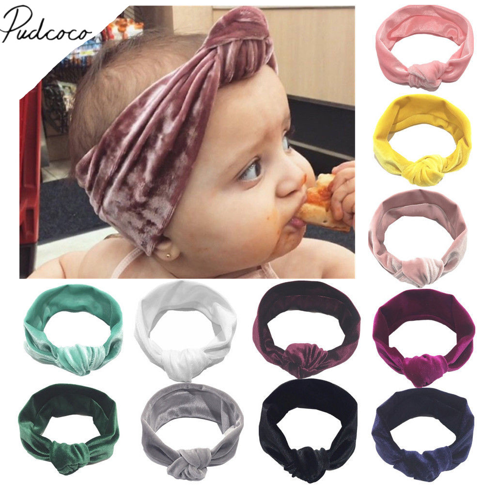 2019 Brand New Kids Girls Baby Toddler Velvet Headband Knotted Band Accessories Headwear Soft Candy Color Solid Headband