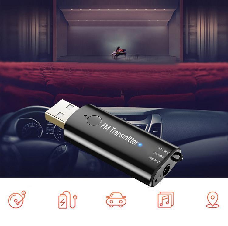 Carro Transmissor Fm Bluetooth Mãos Livres Estéreo Receptor Bluetooth USB Transmissor Modulador FM Sem Fio microfone Embutido