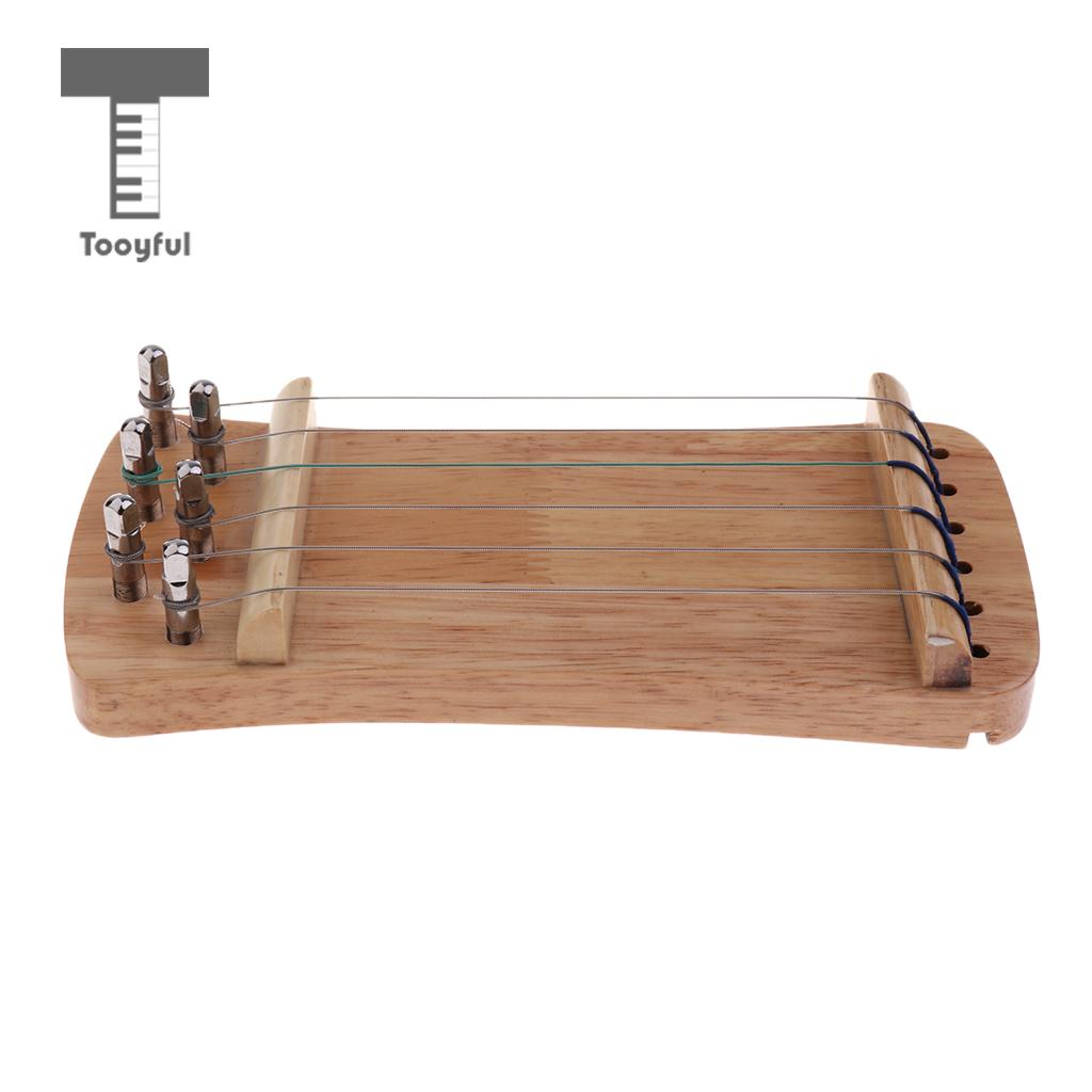 Tooyful Exquisite Solid Wood Mini 6 String Guzheng Chinese Zither Hand Trainer Gu Zheng Finger-training Exerciser