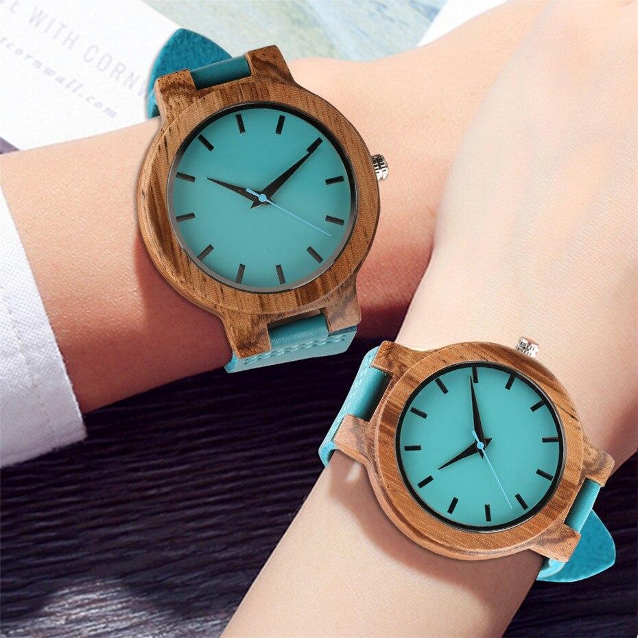 Montre minimaliste en bois bleu pour hommes femmes montre-bracelet en cuir véritable montre à Quartz pour hommes montre élégante femmes meilleurs cadeaux pour amoureux