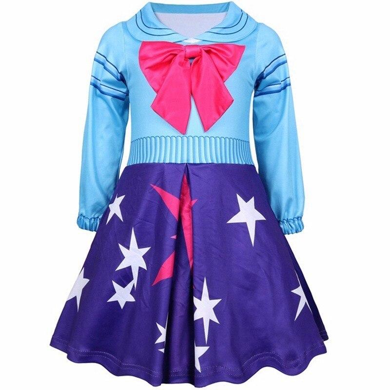 Girls Summer Cute Cartoon Doll Polka Dot Dress Kids Halloween Surprise Birthday Wedding Party Lolita Cosplay Costume Bow Dress