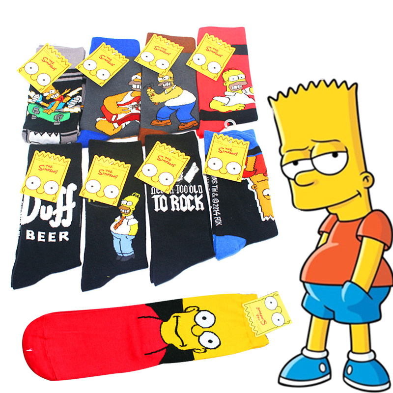 New men cartoon funny Couple cotton   socks   1Pairs Simpson family novelty cute   socks   animal happy   socks   slippers man