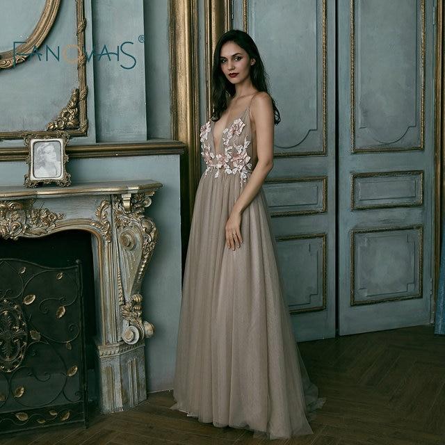 Sexy Tulle Evening Dresses Deep V Neck Prom Dress Long Backless Vestido De festa Abendkleider Robe De Soiree Longue 2019