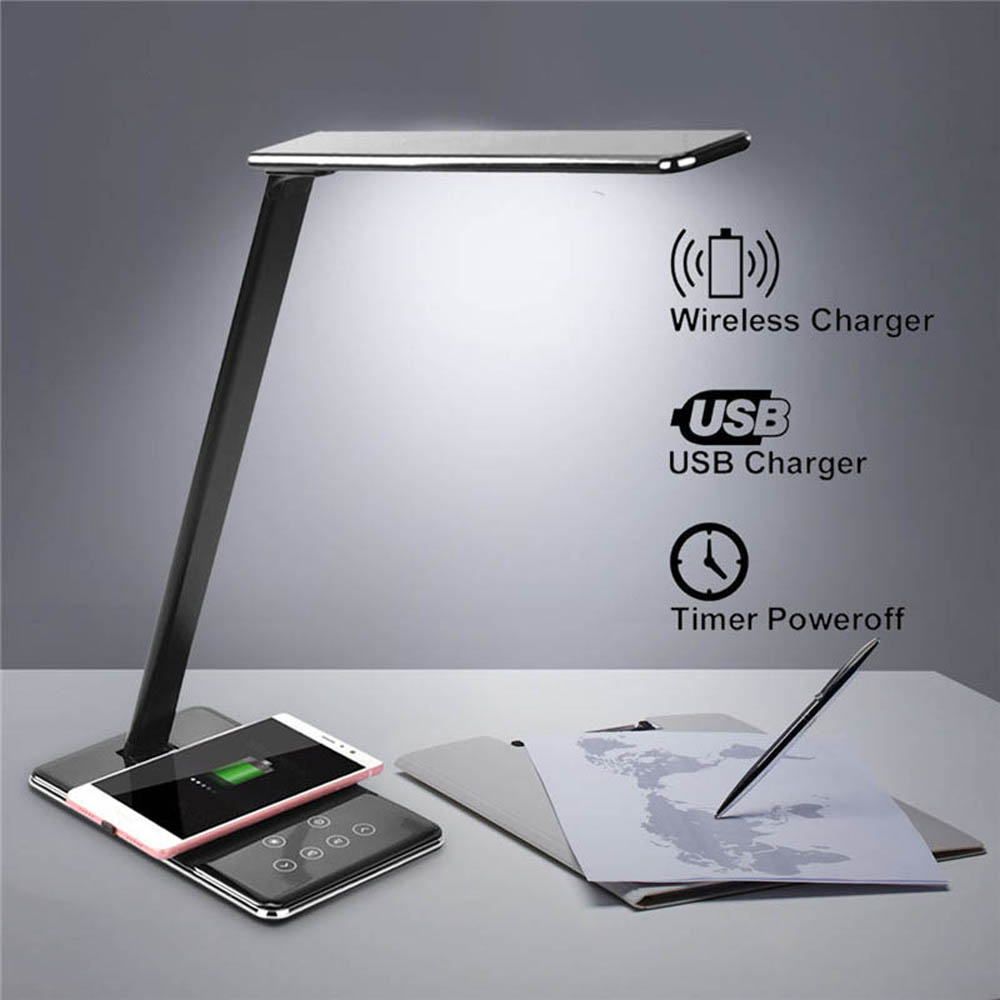 LED Lamp Table Desk Multifunction Phone Qi Wireless Charging Pad Cell Phone Charger Holder Stand Foldable Dimmable Desktop Light