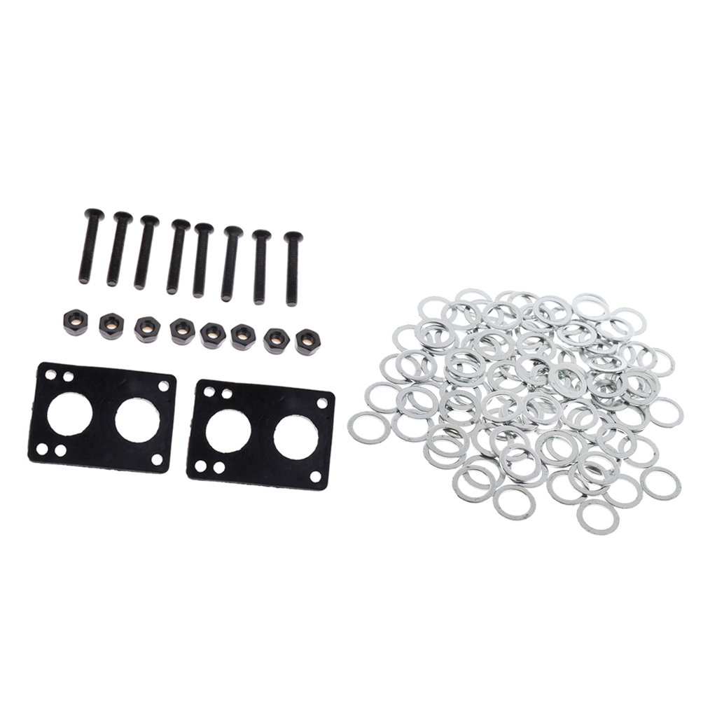 Skateboard Longboard Hardware Set Bearings Washers Speed Rings + 6mm Thick Rubber Risers Pads + Mounting Screws Bolts Nuts