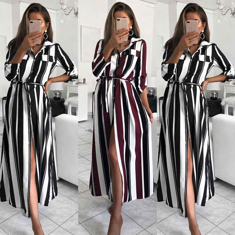 995398bef6d08 Fashion Brand Newest Plus Size Women Boho Rainbow Striped Long Maxi Dress  Festival Long Sleeve Dress Casual Elegant Dresses
