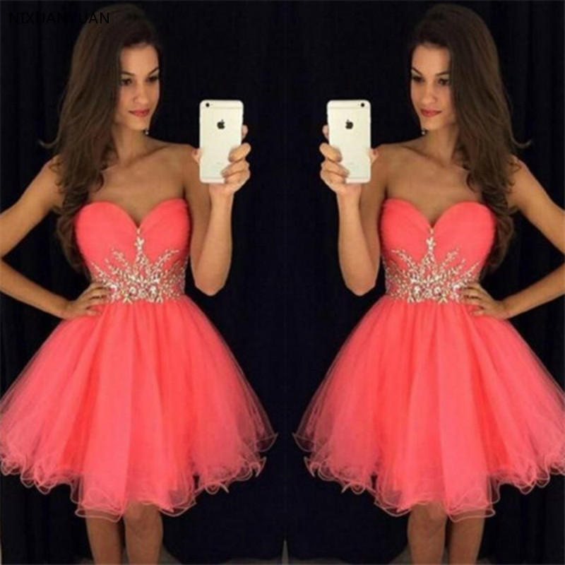 2019 Short Prom   Dresses   A-line Sweetheart Mini Tulle Beaded Crystals Elegant   Cocktail     Dresses