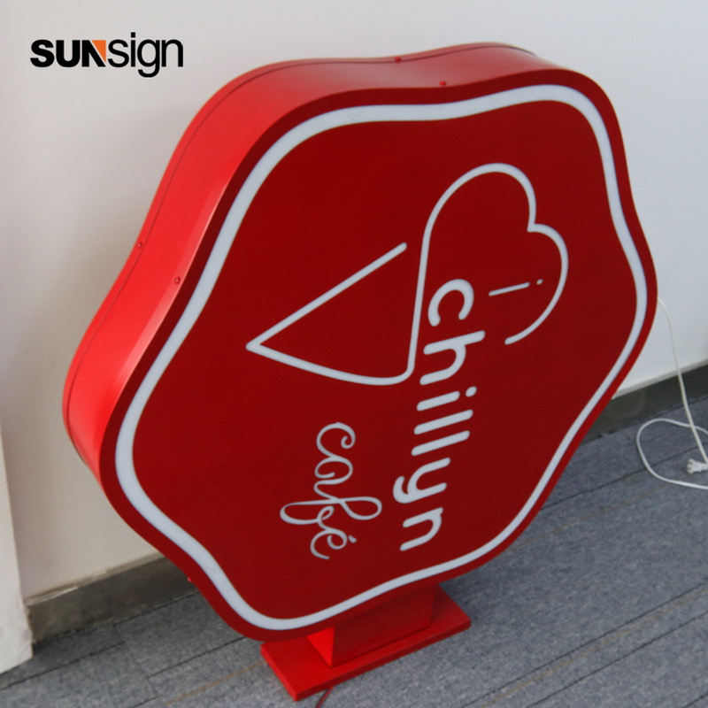 Double Sided Led Light Box Stainless Steel Acrylic Material Outdoor Advertising Signage