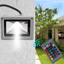 10W RGB LED Flood Light Waterproof Lawn Garden Reflector Lamp with Remote Controller Outdoor