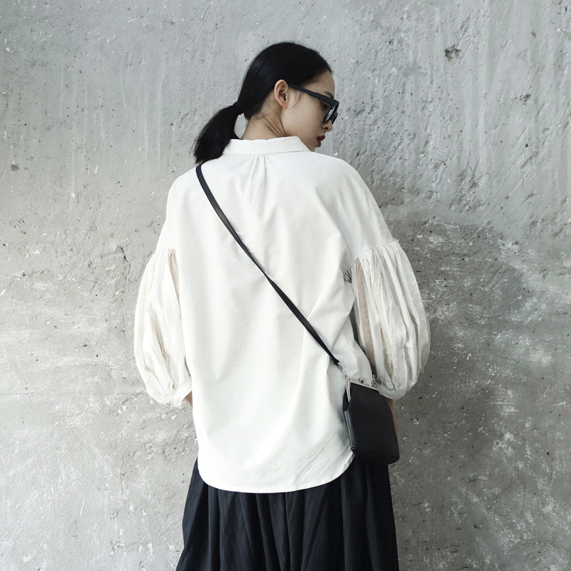 Je82000s Manches Mode Printemps Lanterne Marée White Chemisier Blanc Revers Femme Lâche Fendue 2019 Long D'été Commune eam Fold Nouveau 0ZCnTwq
