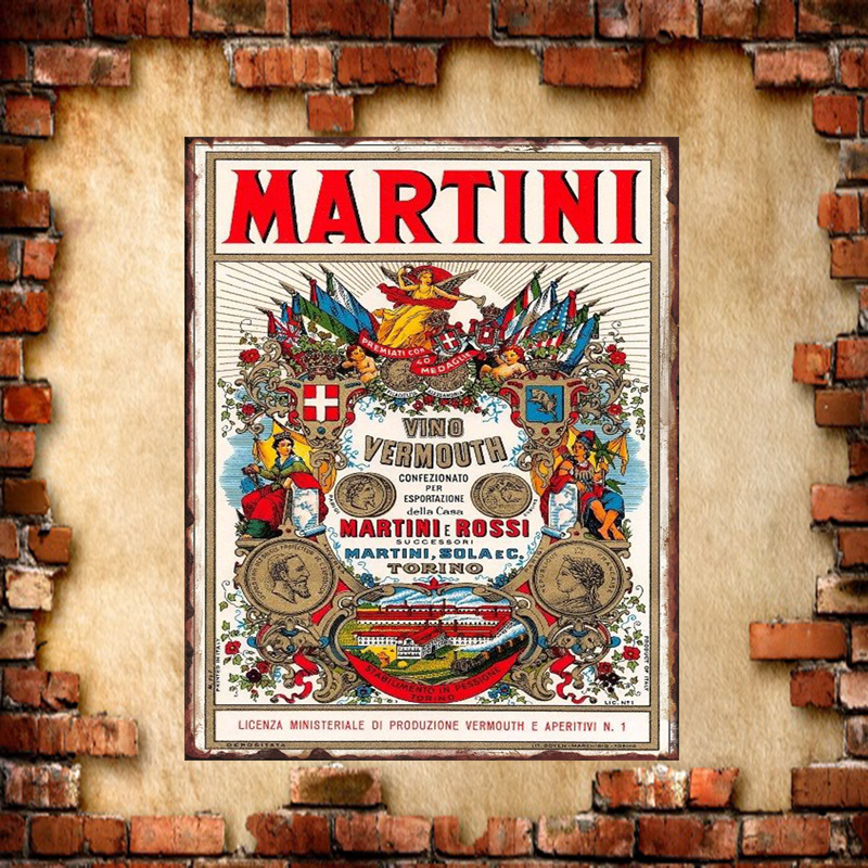Shabby Chic Pin Up Martini Rossi Iron Metal Poster Tin Sign ...