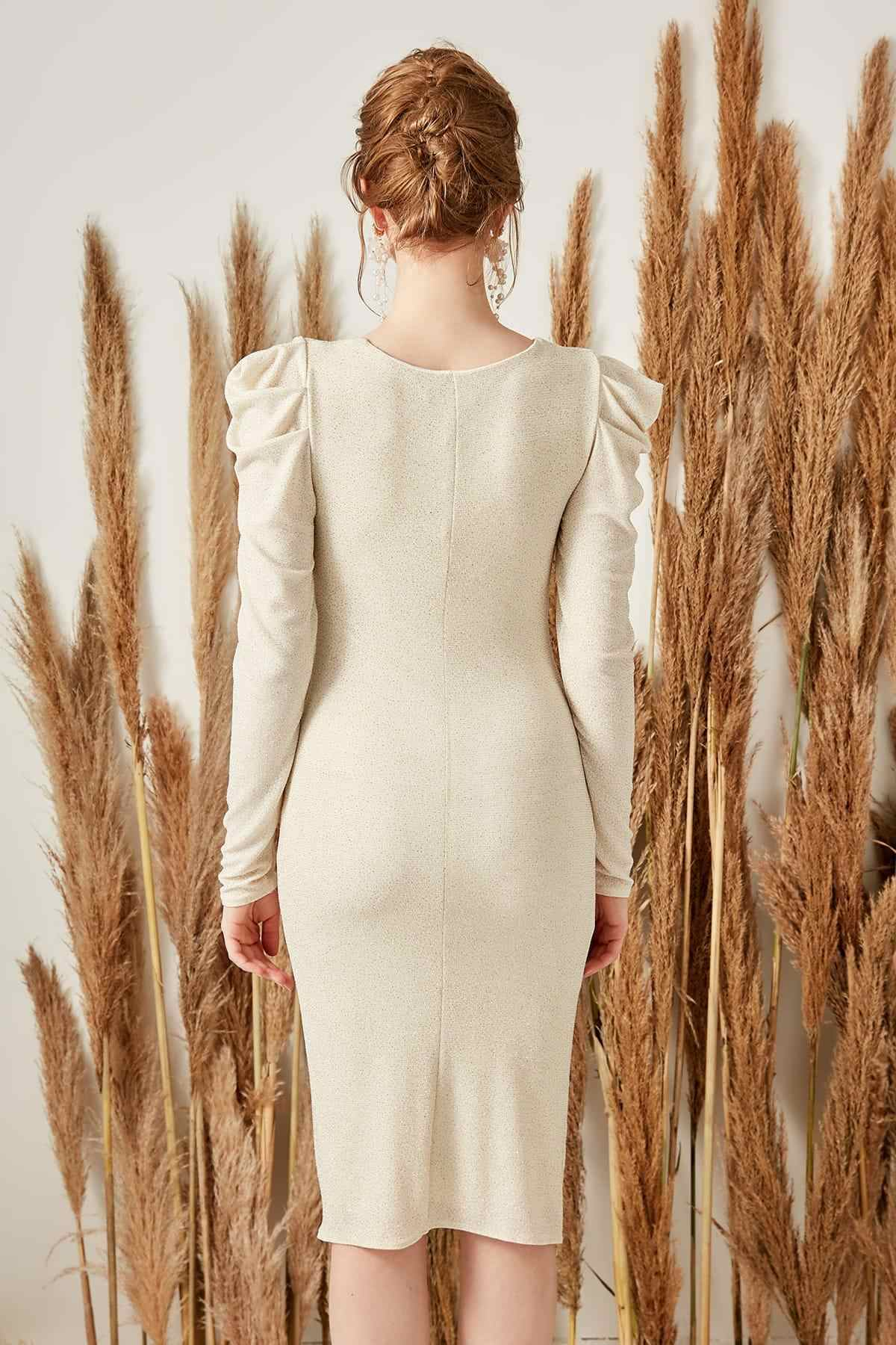 Trendyol бежевое платье с драпировкой TPRSS19LJ0017